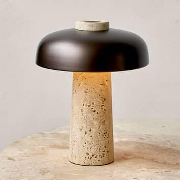 Menu Reverse LED-Tischleuchte mit Travertinfuß