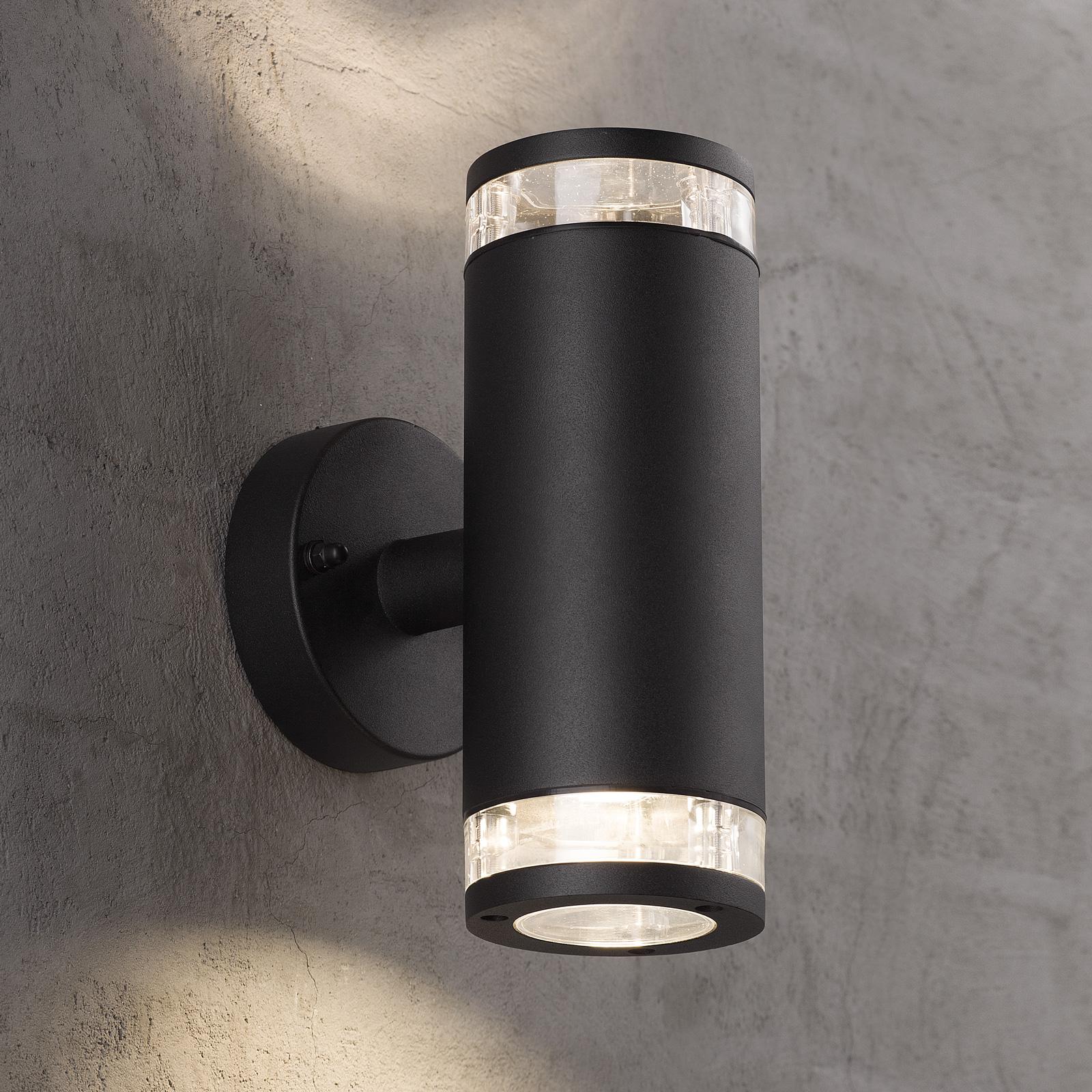 Buitenwandlamp Birk, 2-lamps, zwart