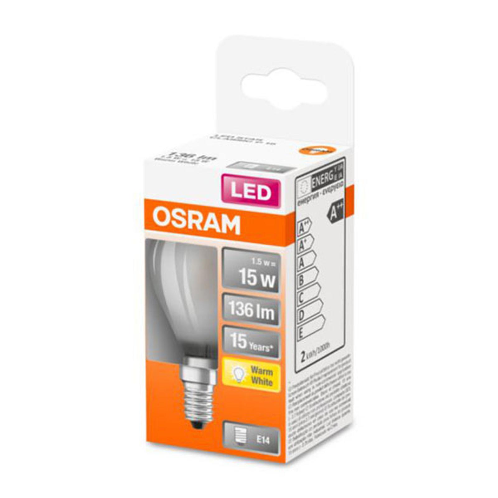 OSRAM Classic P LED E14 1,5W 2.700K satinata