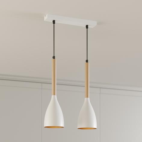 Lámpara colgante Muza, 2 luces, blanco/dorado