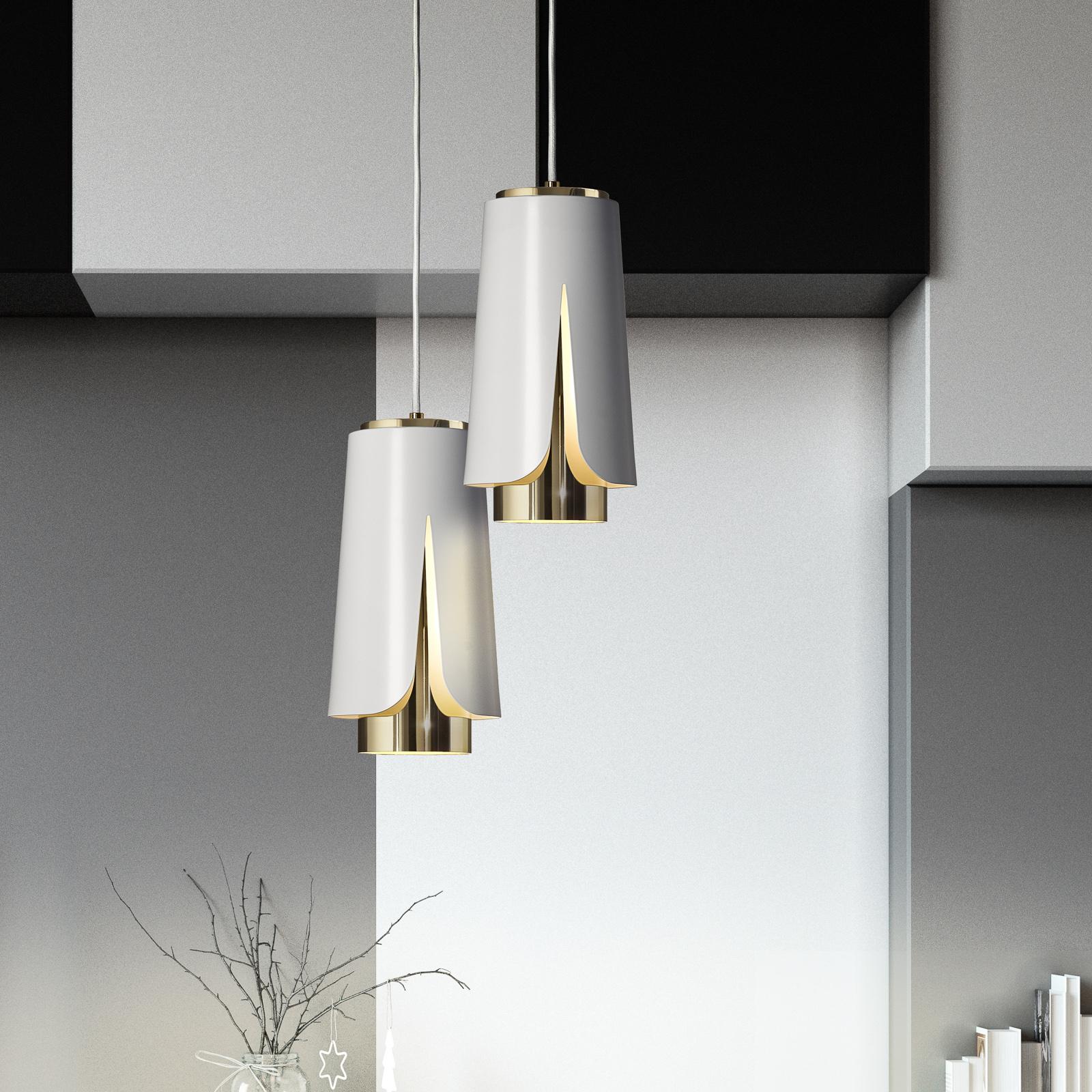 Prandina Tulipa S3 hanglamp mat wit/goud