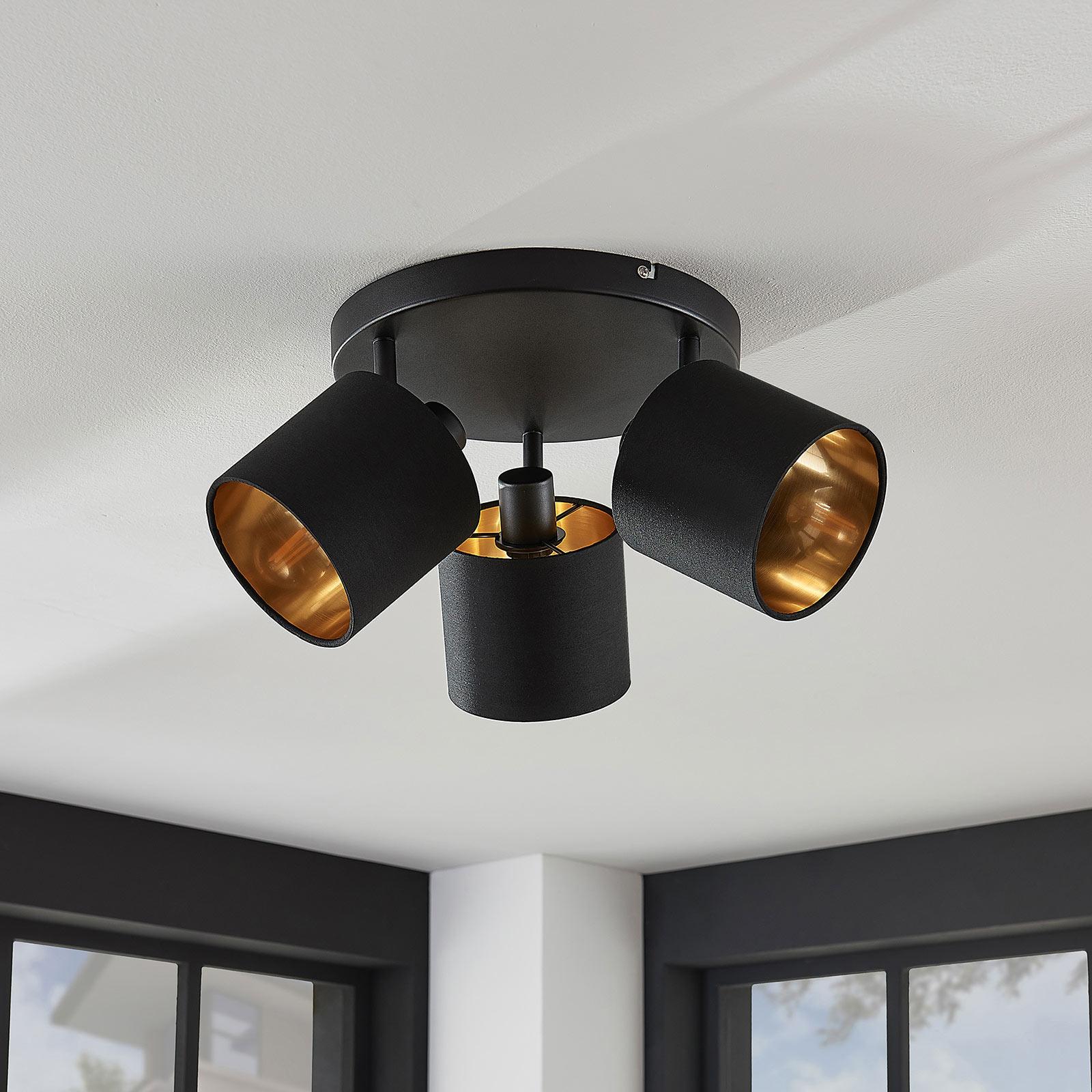 Stoff taklampe Vasilia i svart gull, 3 lyskilder