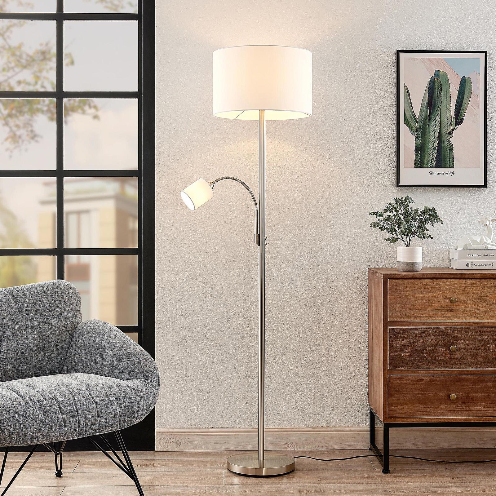 Lindby Jaileen stojací lampa, čtecí světlo, bílá