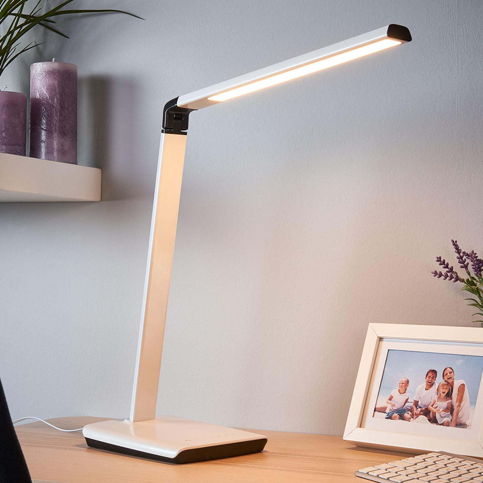 Lámpara de mesa Kuno, puerto USB, atenuable LED