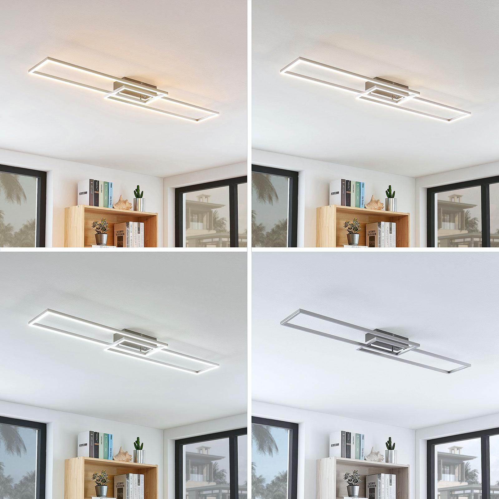 Plafonnier LED Quadra, dimmable, 2 lampes, 110cm
