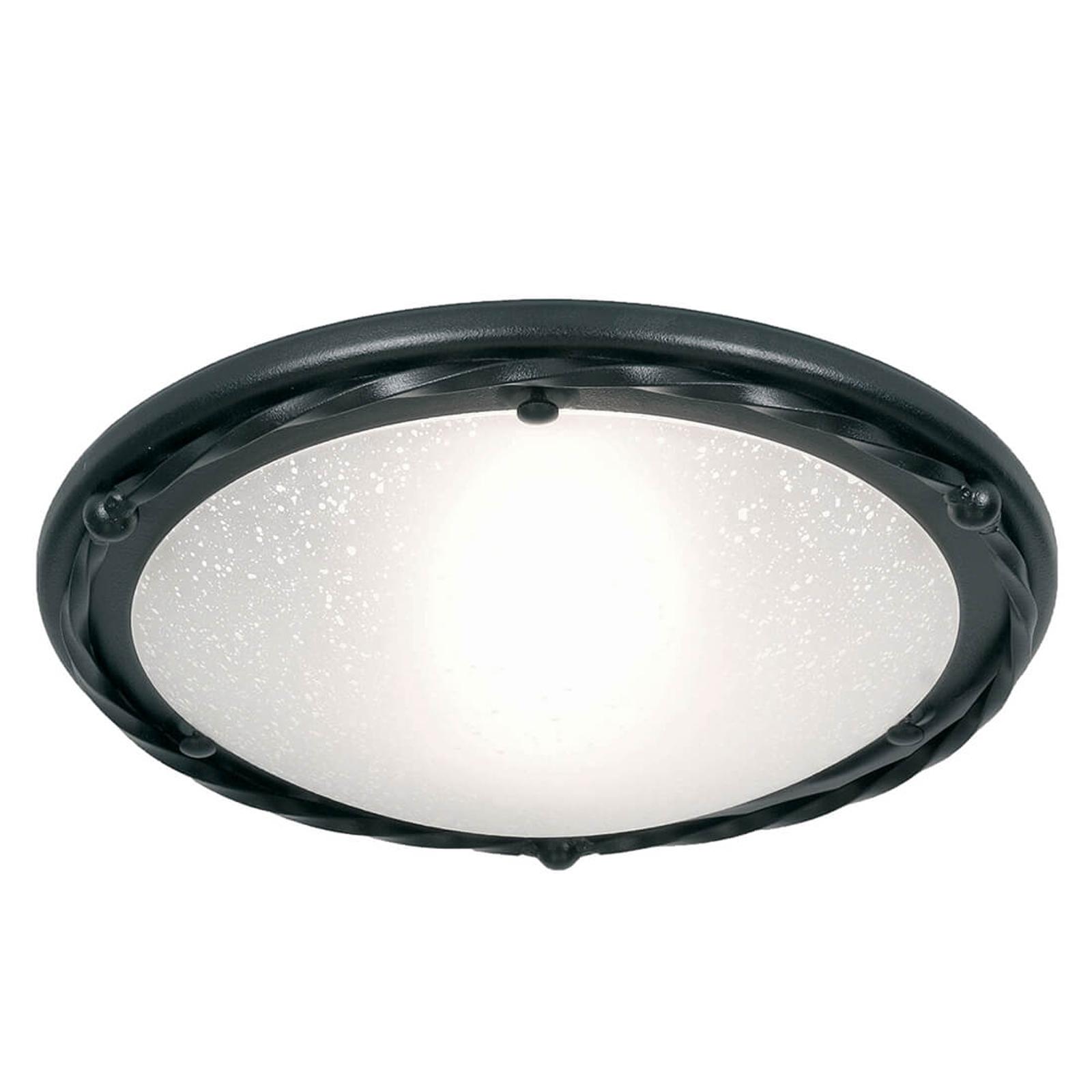 Plafondlamp Pembroke, vlak, frame zwart