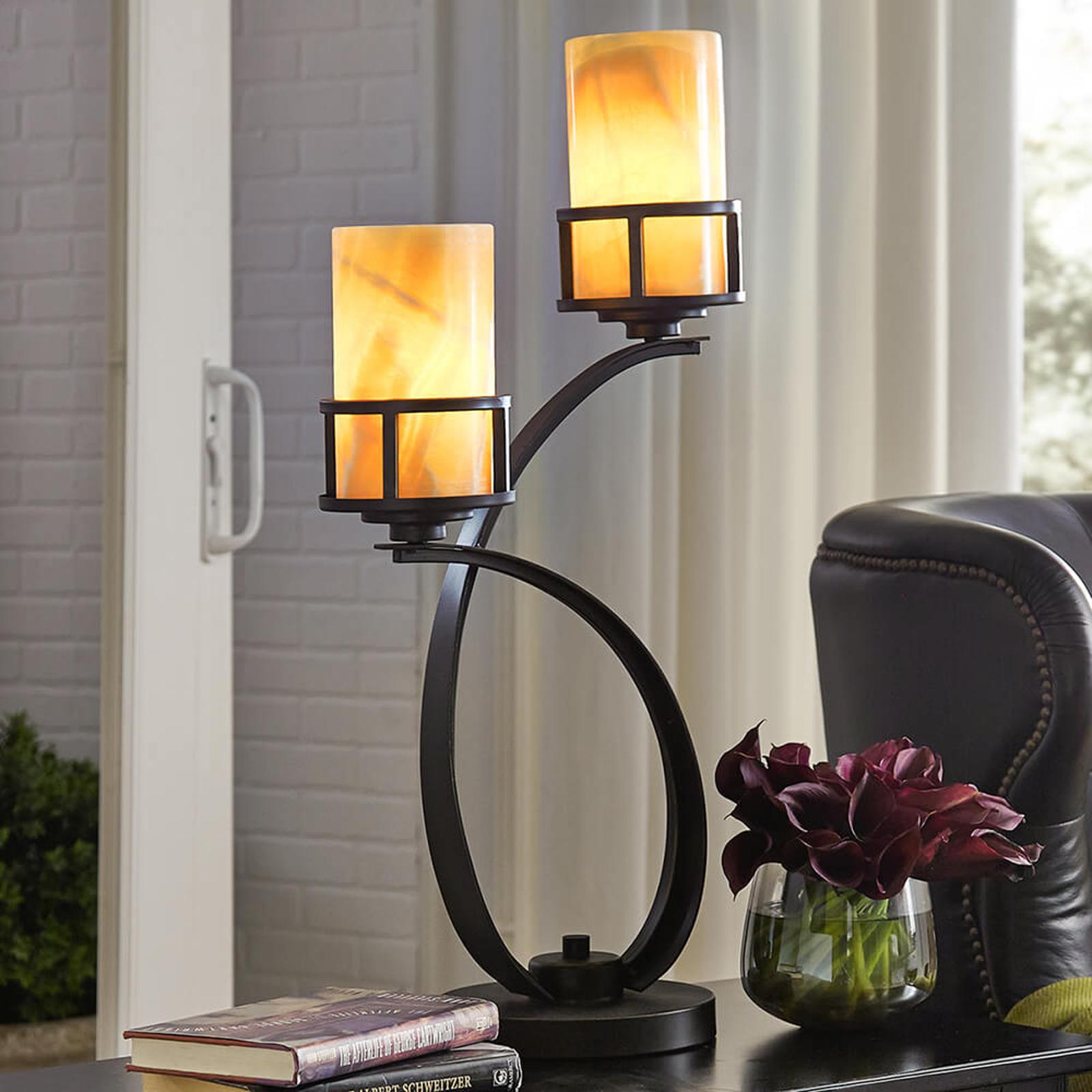 Z kloszami z onyksu– lampa stołowa Kyle