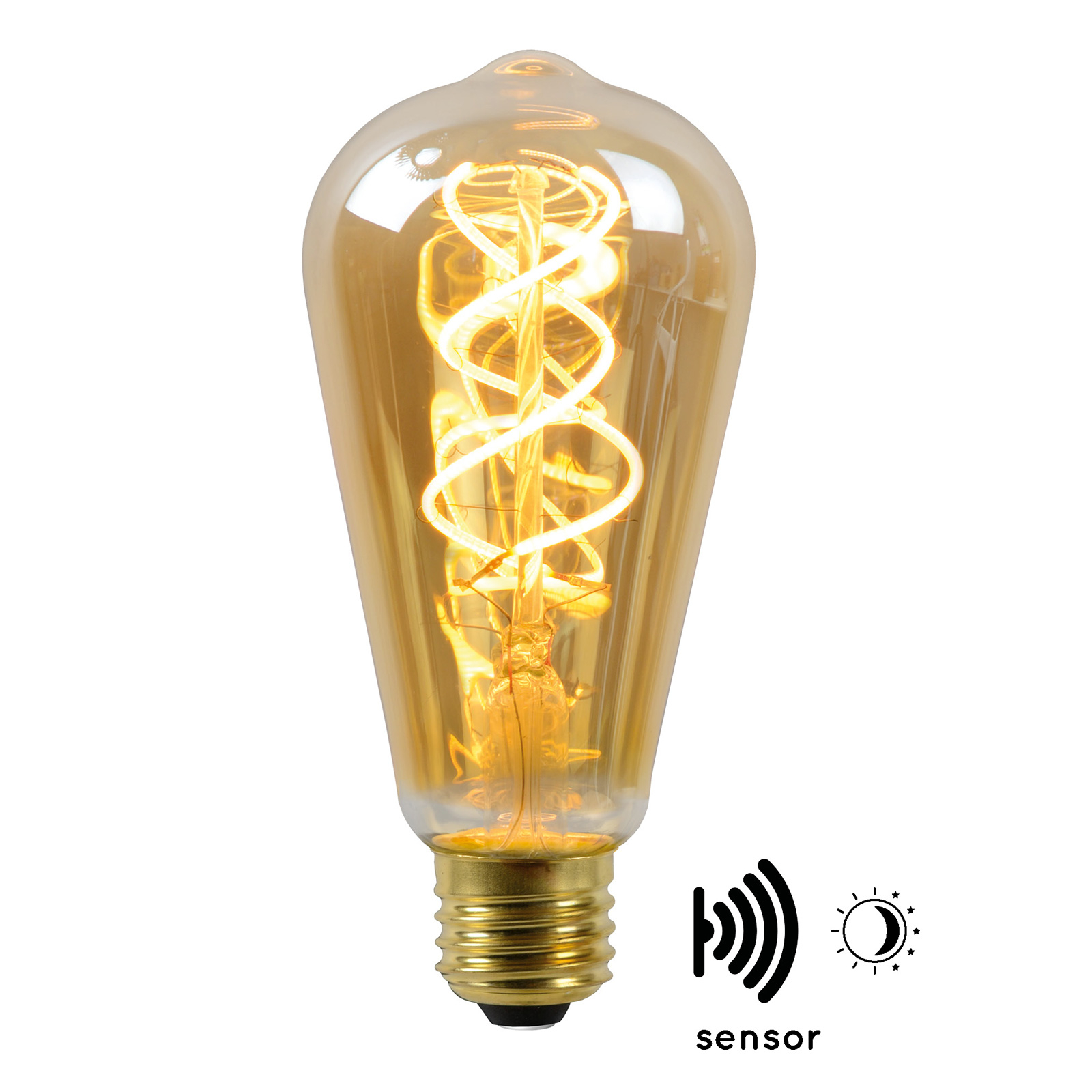 LED-Lampe E27 ST64 4W 2.200K amber mit Sensor