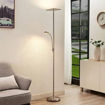 Lindby Kavi LED-golvlampa med läslampa, kantig