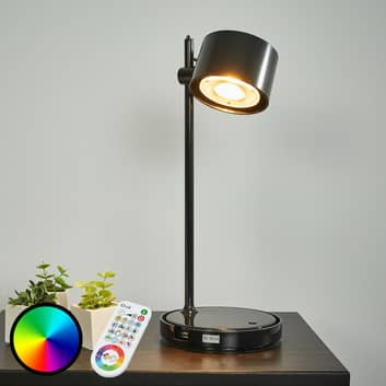 Sort LED-iDual-bordlampe Jasmine, fjernbetjening