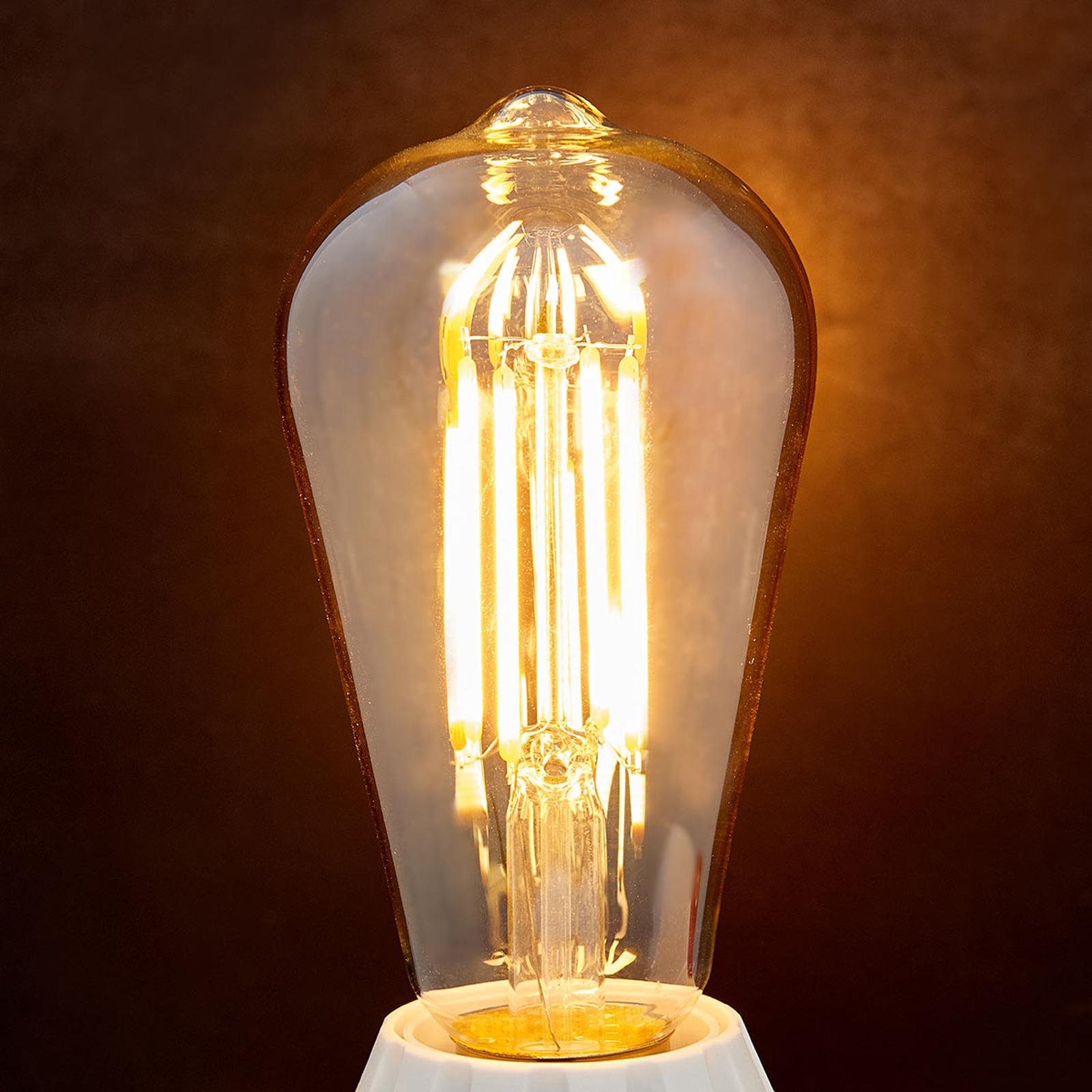 E27 LED-rustikk lyspære 6W 500 lm, rav 2200K