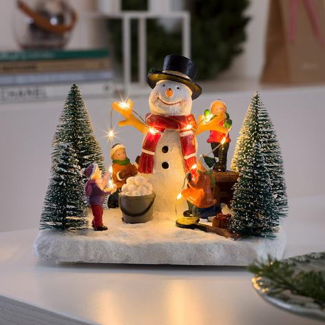 Pupazzo di neve con bambini LED, a batteria
