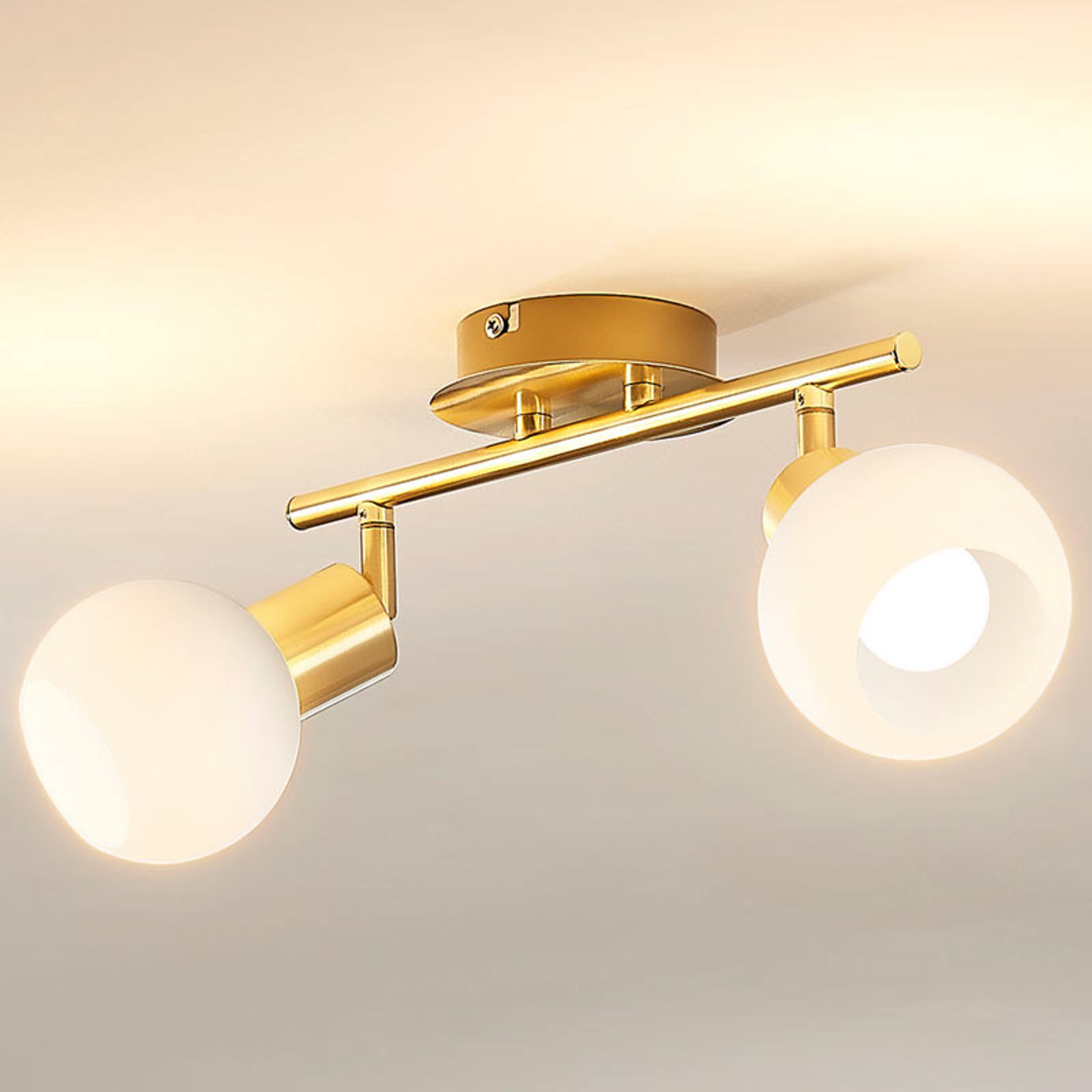 Taklampen Elaina med E14 LED-pærer, messing