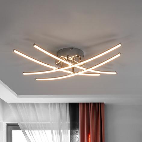 LED-Deckenlampe Yael, chrom, 4 Stäbe