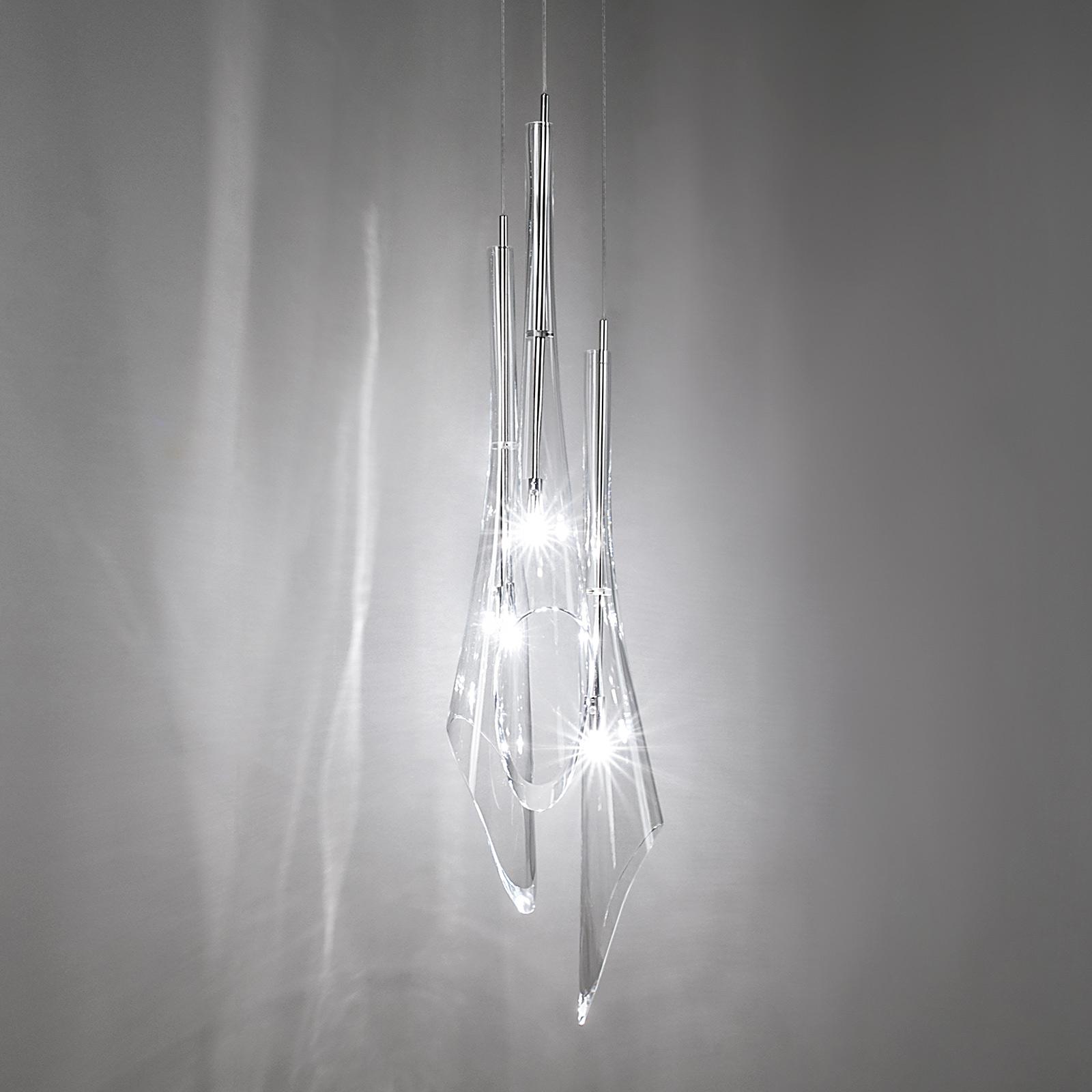 Trzypunktowa filigranowa lampa wisząca Calle
