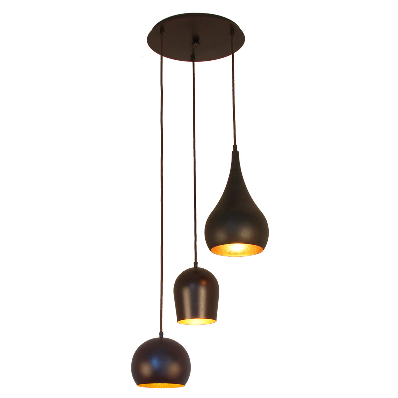 Menzel Solo hanglamp, 3-lamps rond