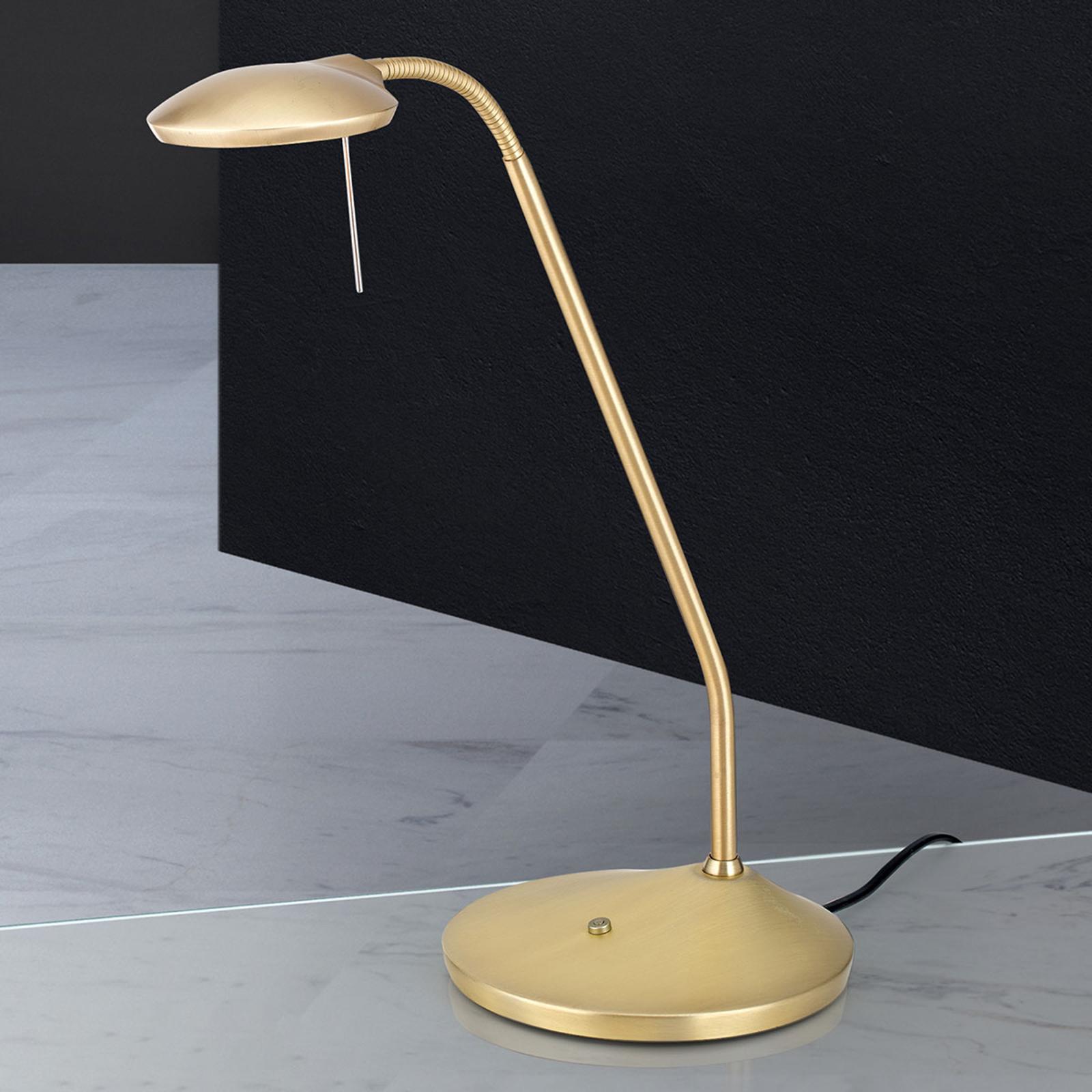 Lampe à poser LED Cobra en laiton mat