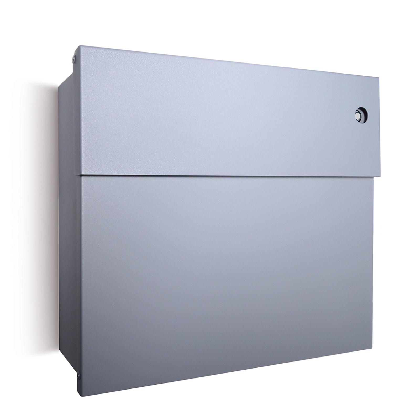 Letterman IV letterbox, blue doorbell, silver_1057151_1