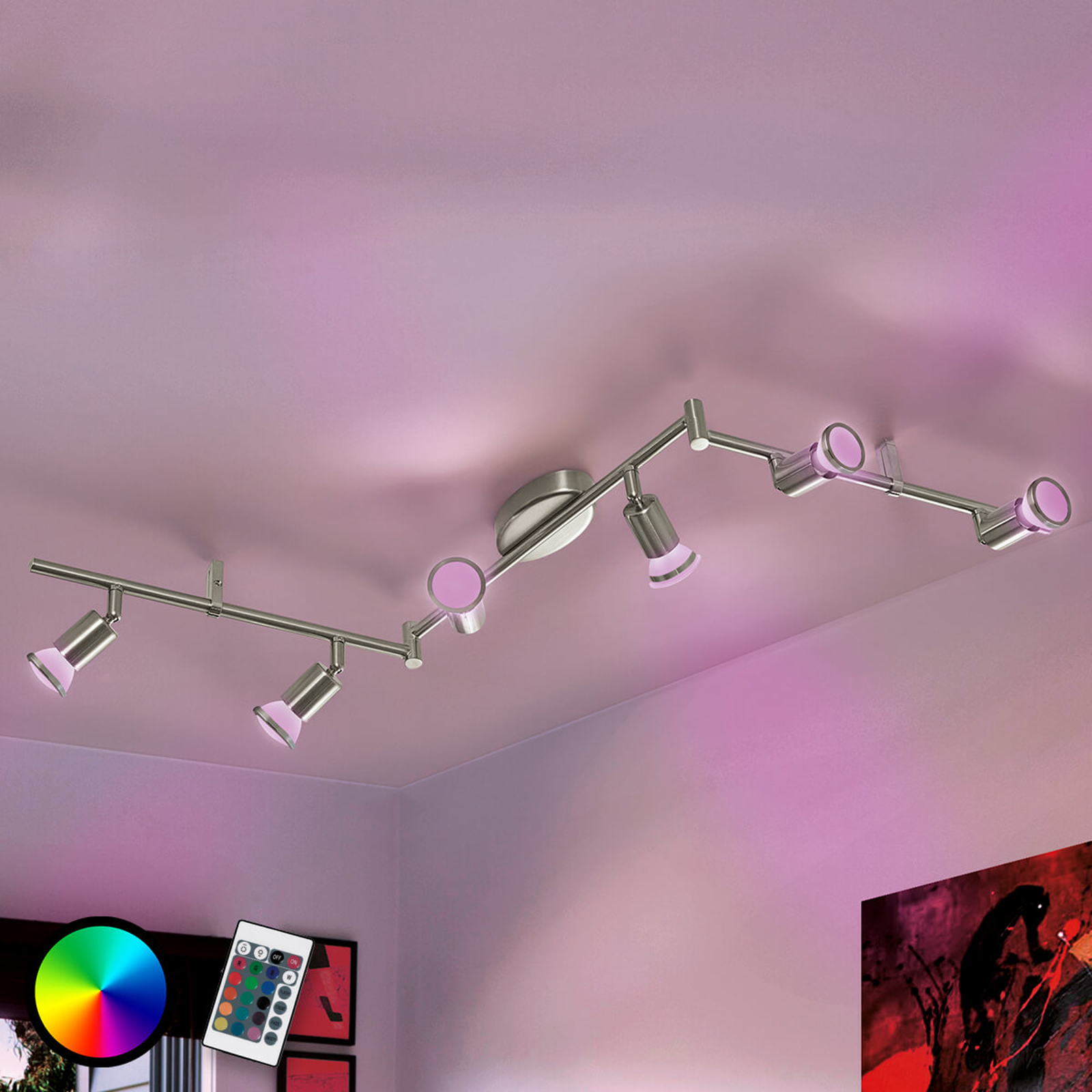 Vinklet taklampe Buzz-C LED RGBW