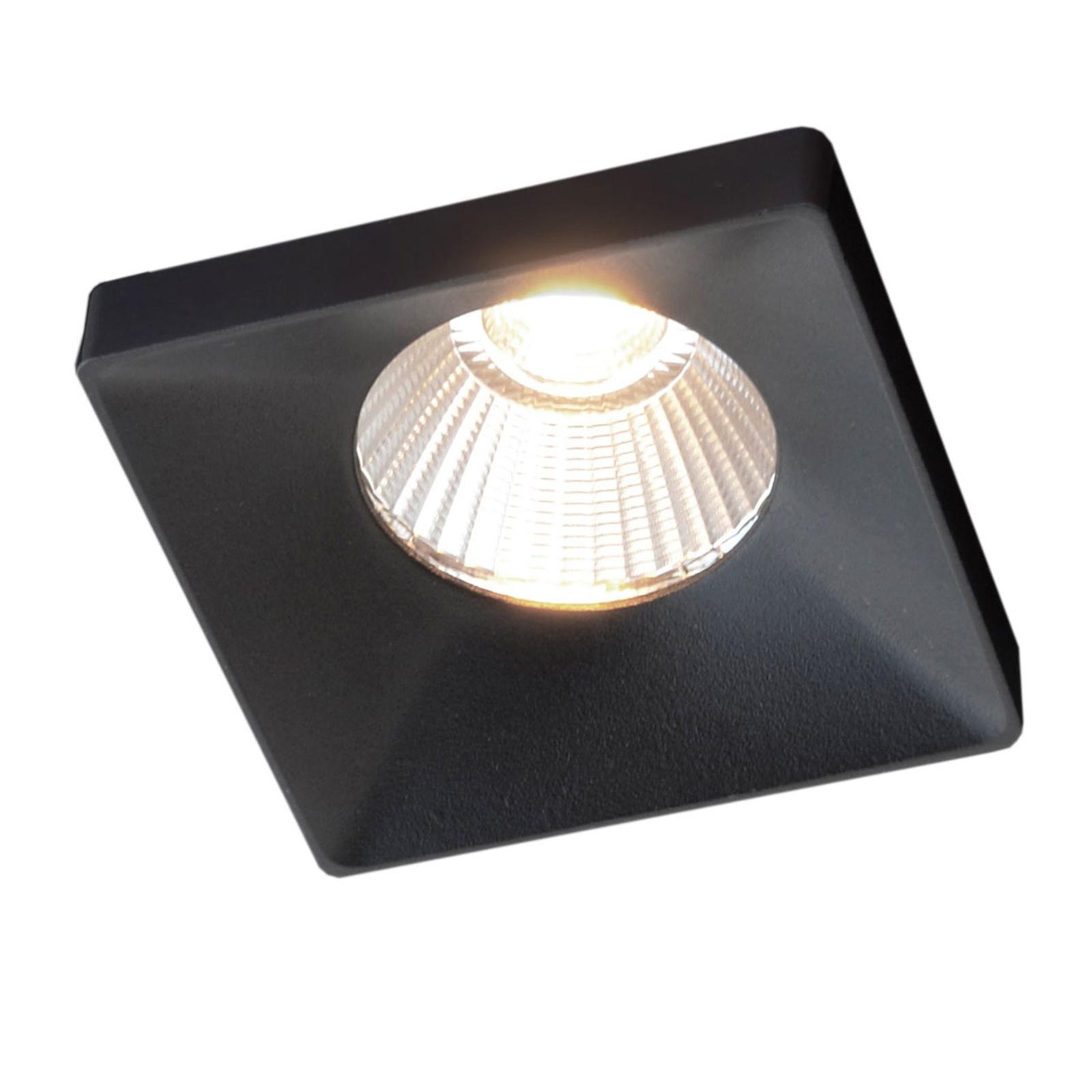 GF design Squary Einbaulampe IP54 schwarz 2.700 K