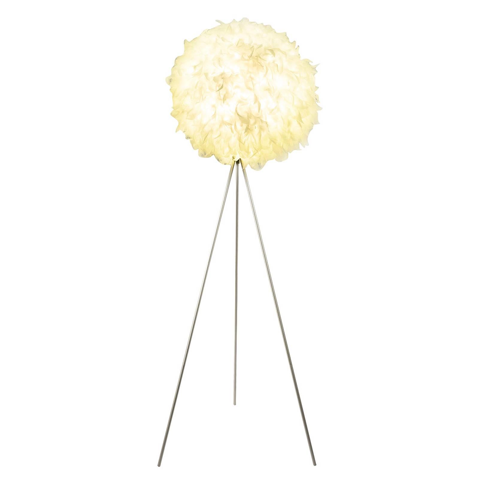 Driepootvloerlamp Katunga met echten veren