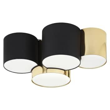 Taklampa Mona 4 lampor, svart/guld