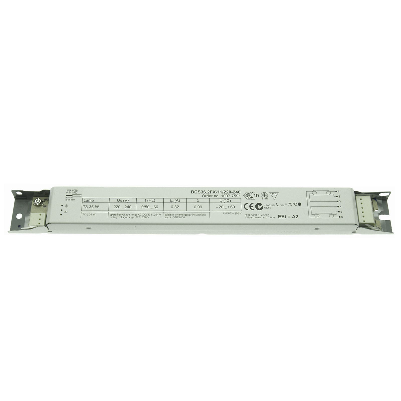 BE 2 x 36W T8 BCS36.2FX-11/220-240 non dimmable