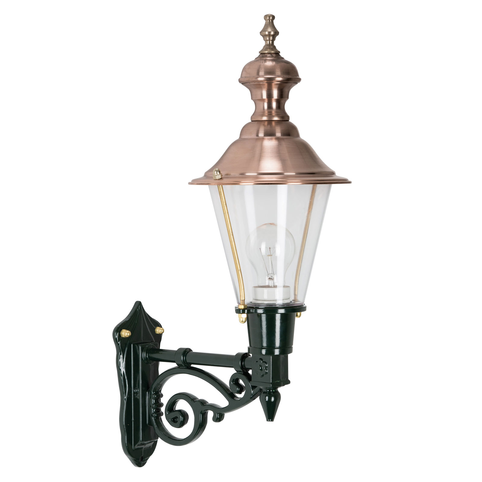 Nostalgische buitenwandlamp Edam M, groen/koper