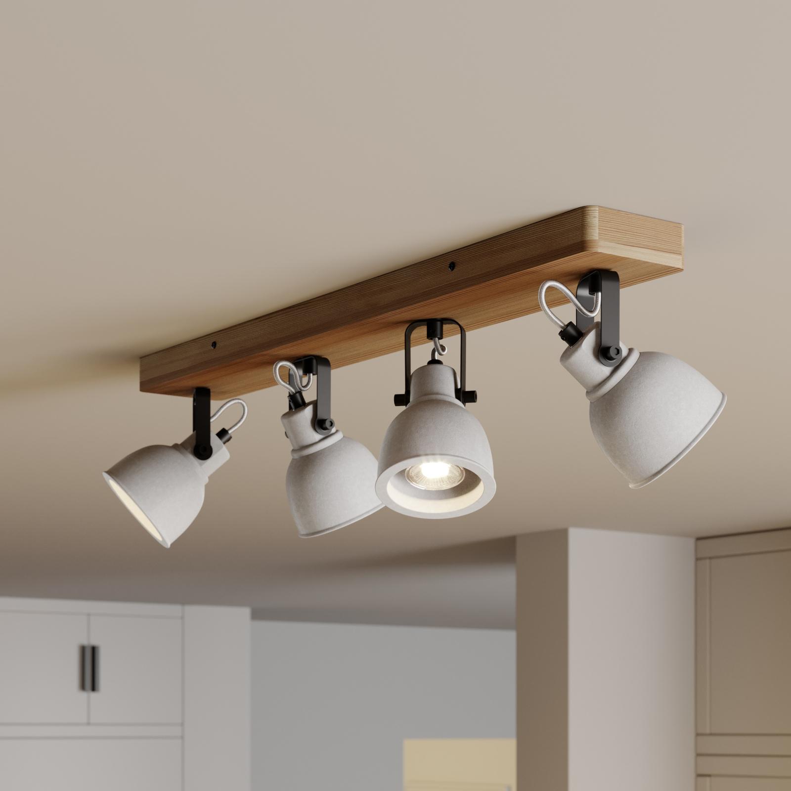 Lindby Mirka LED-Deckenleuchte, Kiefernholz, 4-fl.