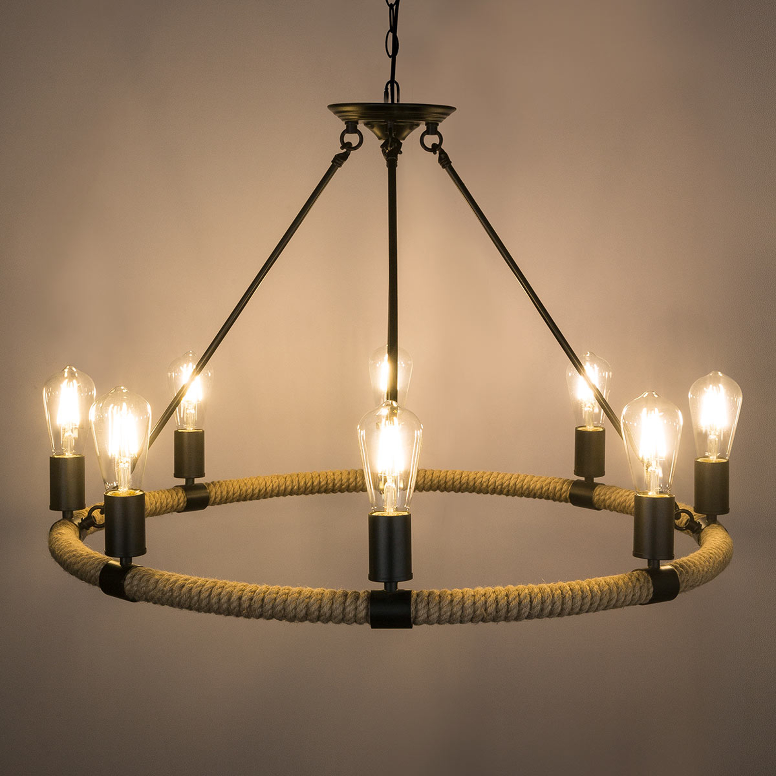Ronde LED hanglamp Ulleu met henneptouw 8-lamps