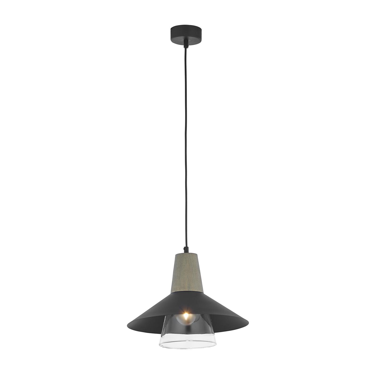 Eos hængelampe, mørkegrå, grå, transparent glas