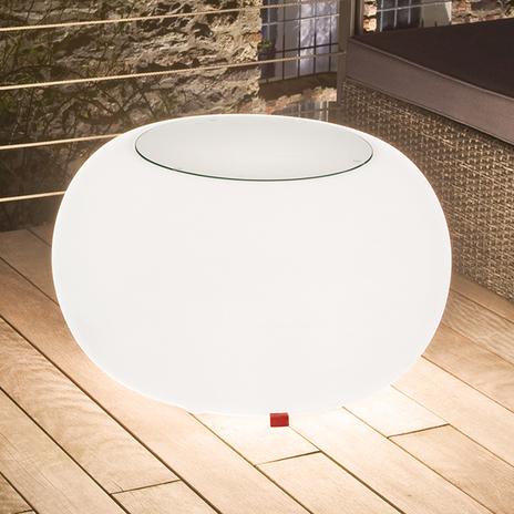 Stół BUBBLE, białe światło i szklany blat