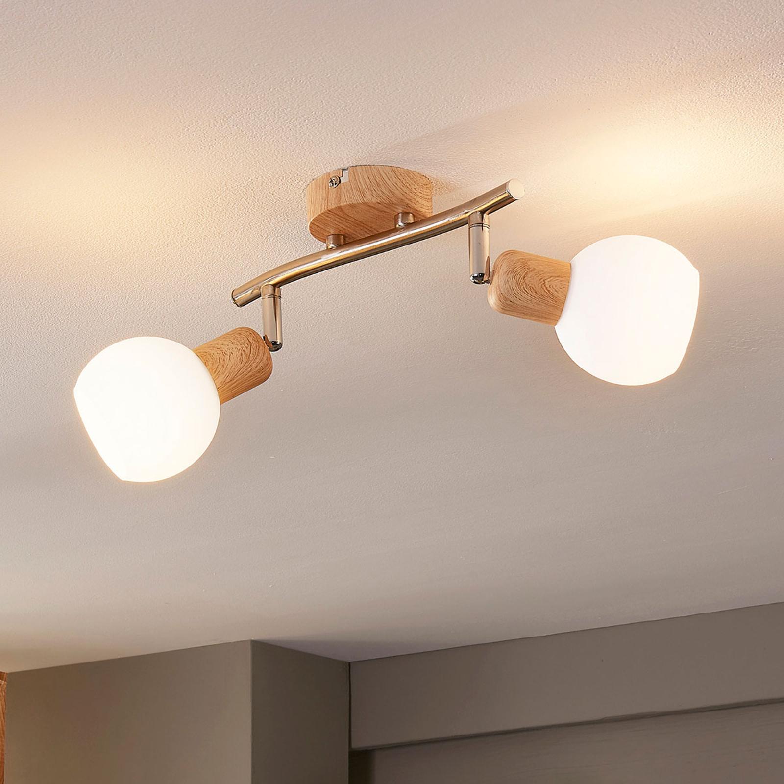 Spot LED en bois Svenka à 2 lampes