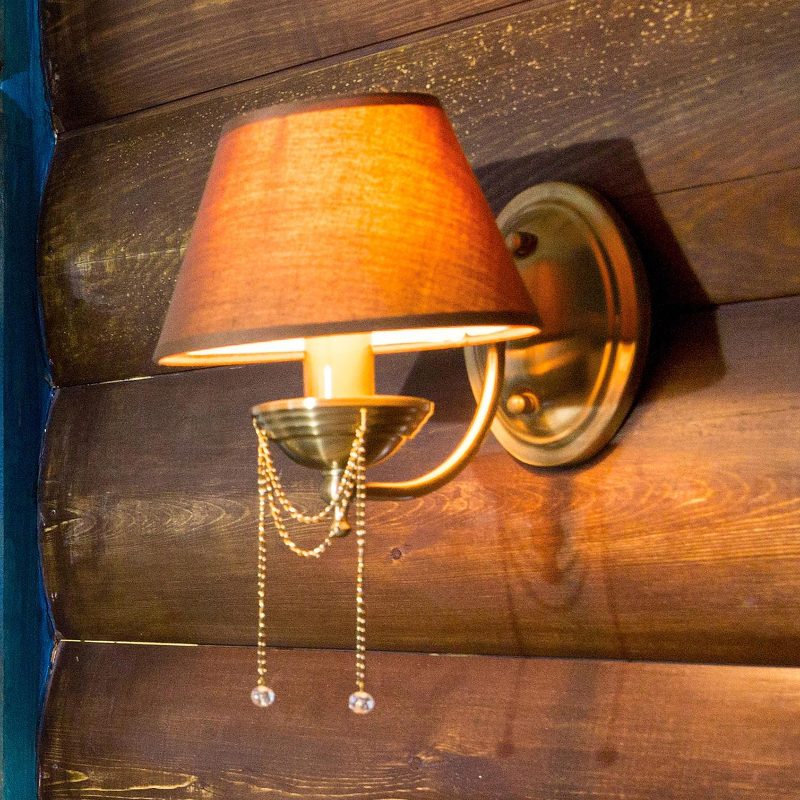 Chester wall lamp with brown fabric lampshade_6727405_1