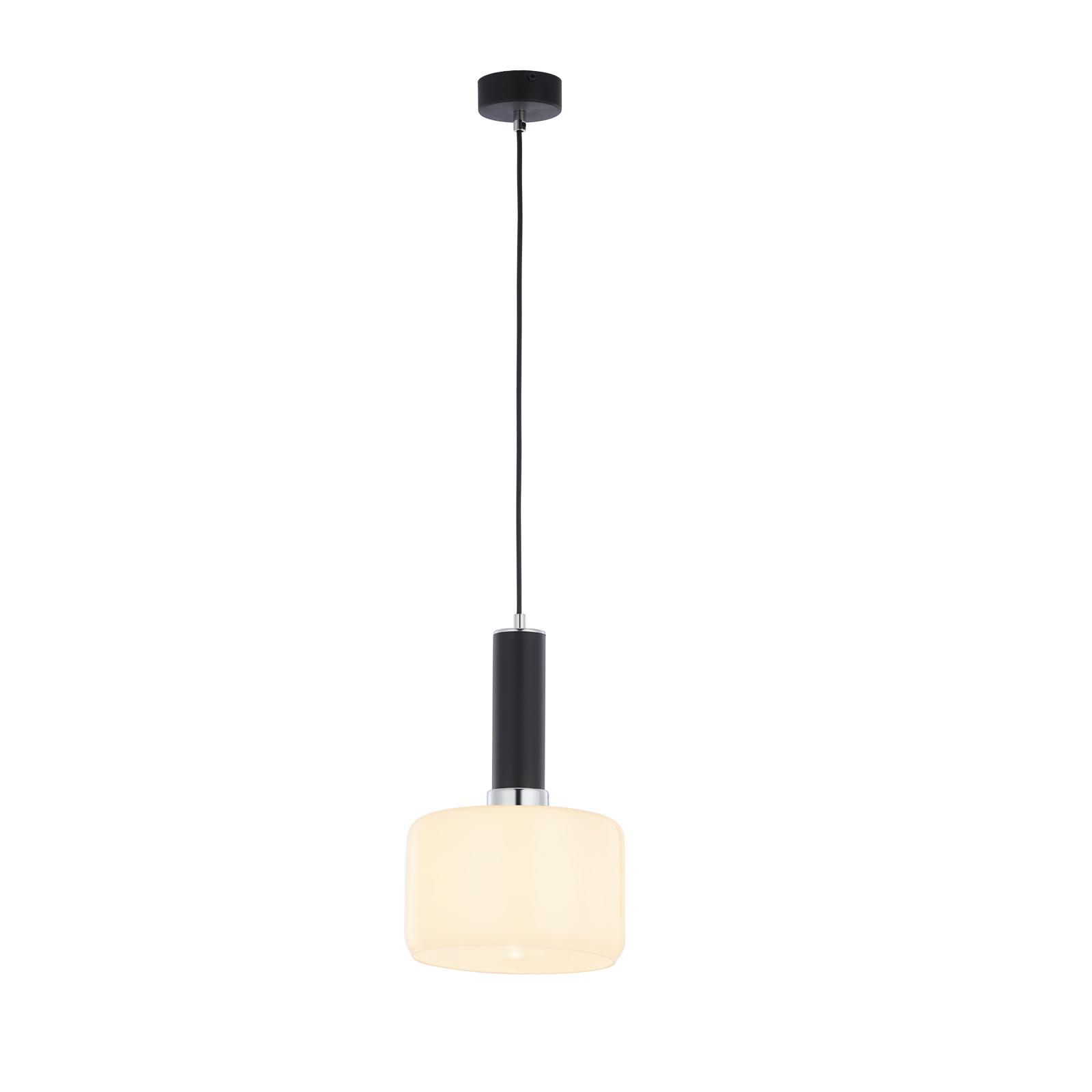 Suspension Viva, opale/noire/chromée, à 1 lampe