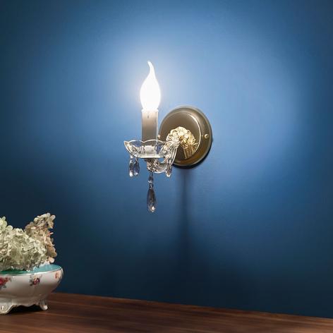Wandlamp Dolores met kristallen, 1-lamps