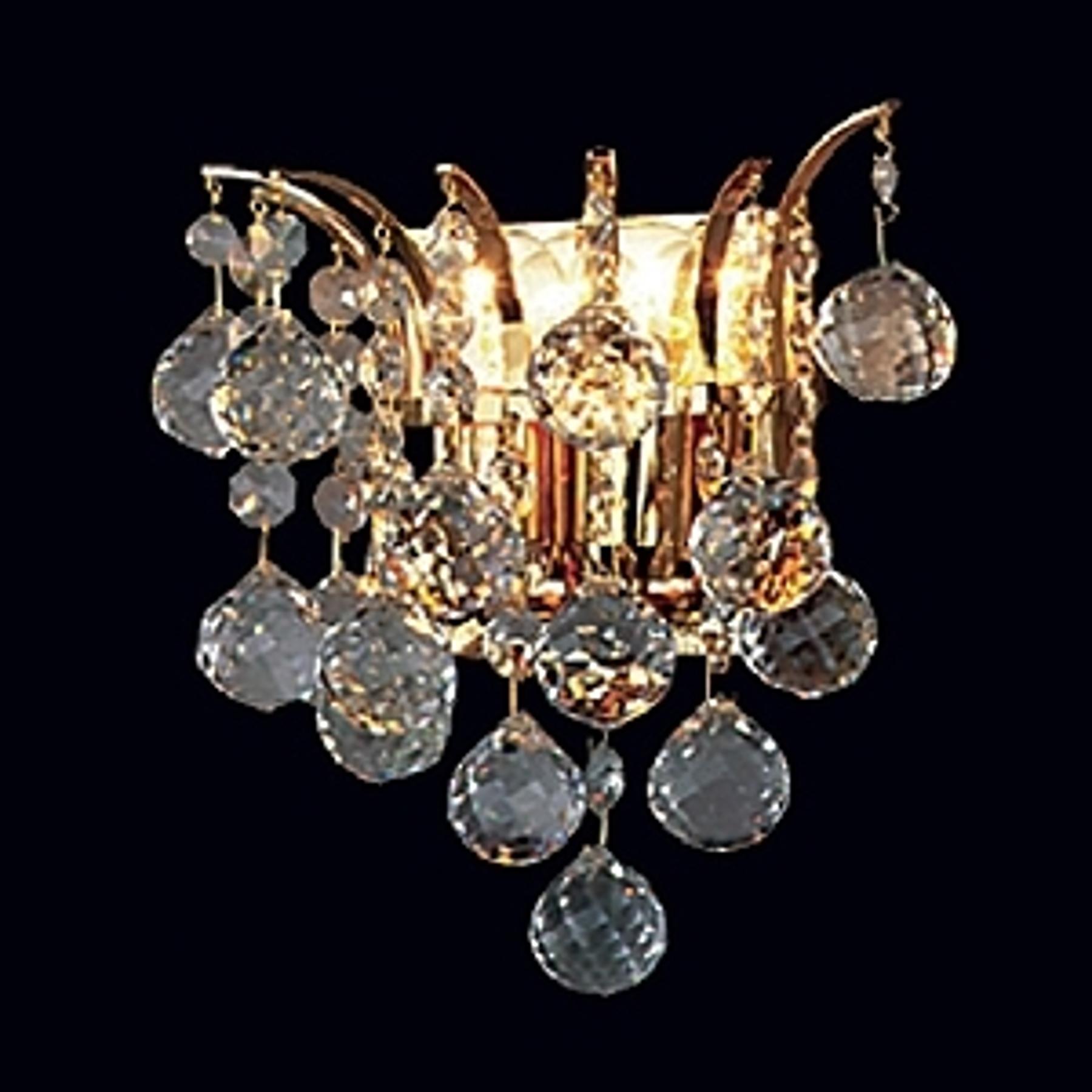Gouden kristallen wandlamp LENNARDA