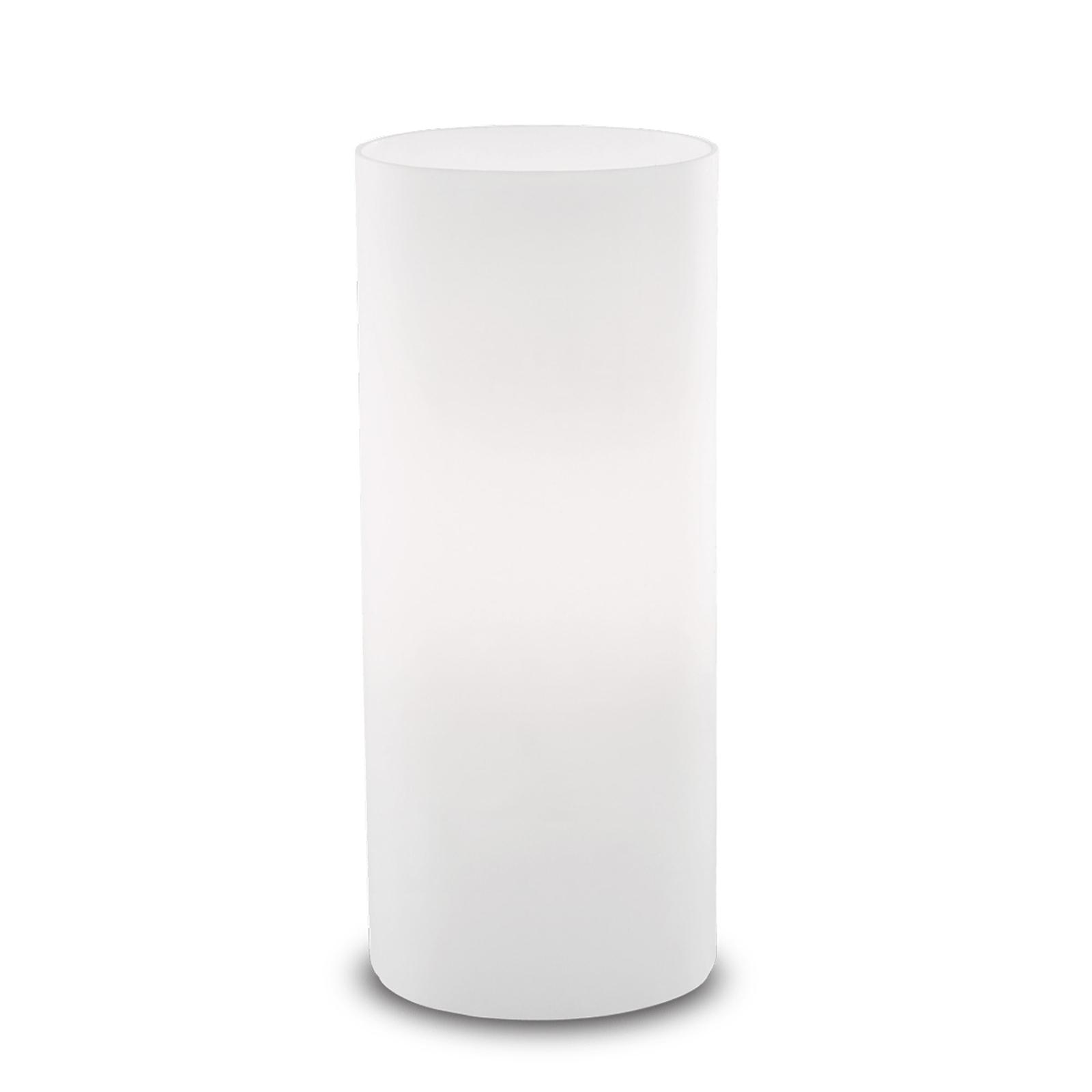Tischleuchte Edo aus weißem Glas, Höhe 23 cm