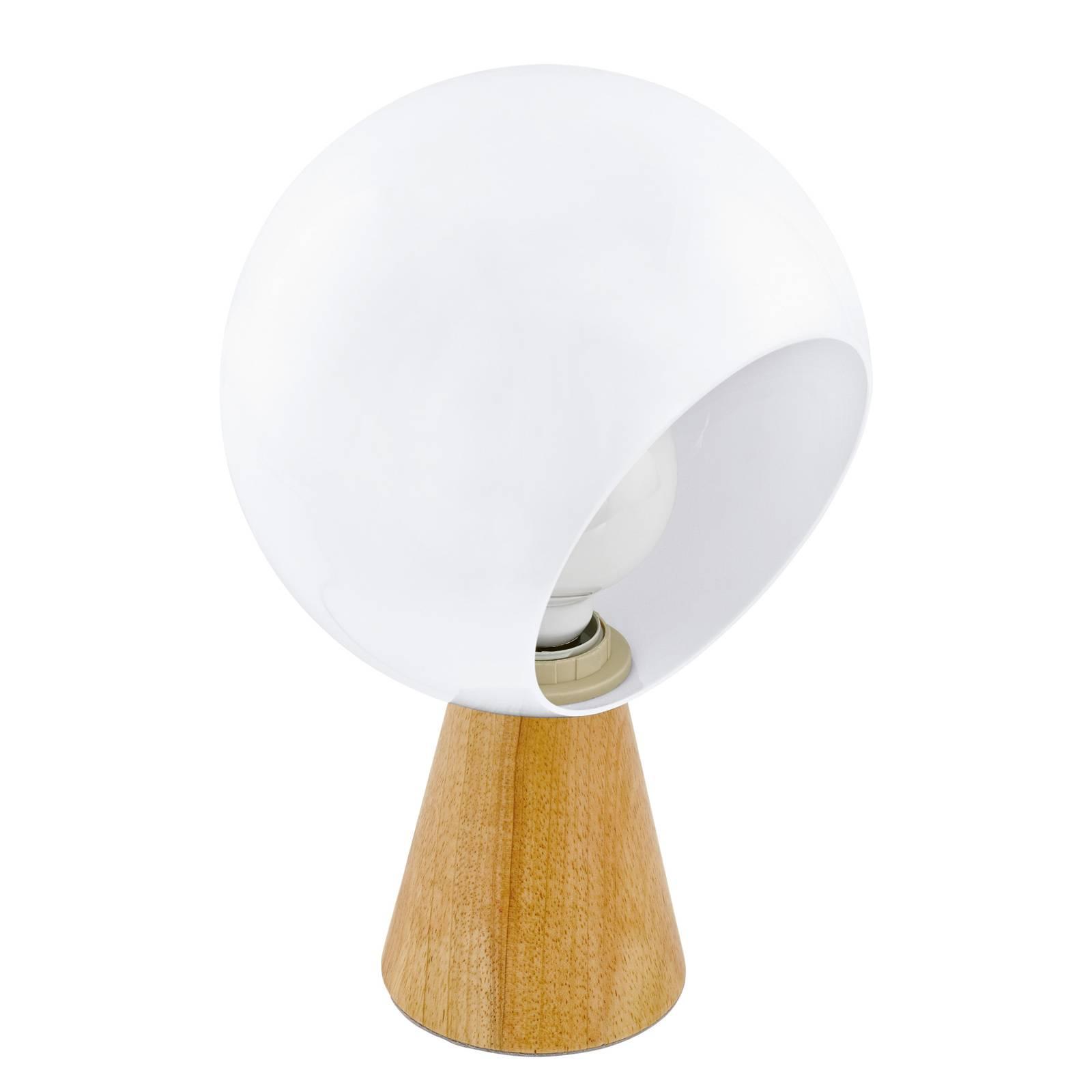Tafellamp Mamblas met houten voet en bolkap