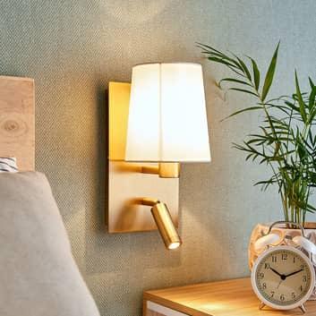 Wandlamp Aiden met LED leeslamp, oud messing