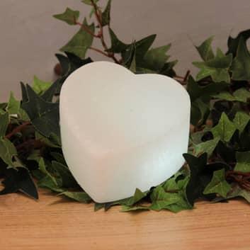 Hvitt LED-hjerte White Line av saltkrystaller