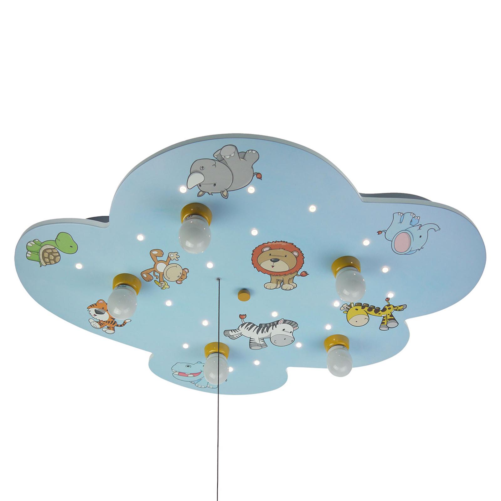 Deckenleuchte Wolke mit wilden Tieren