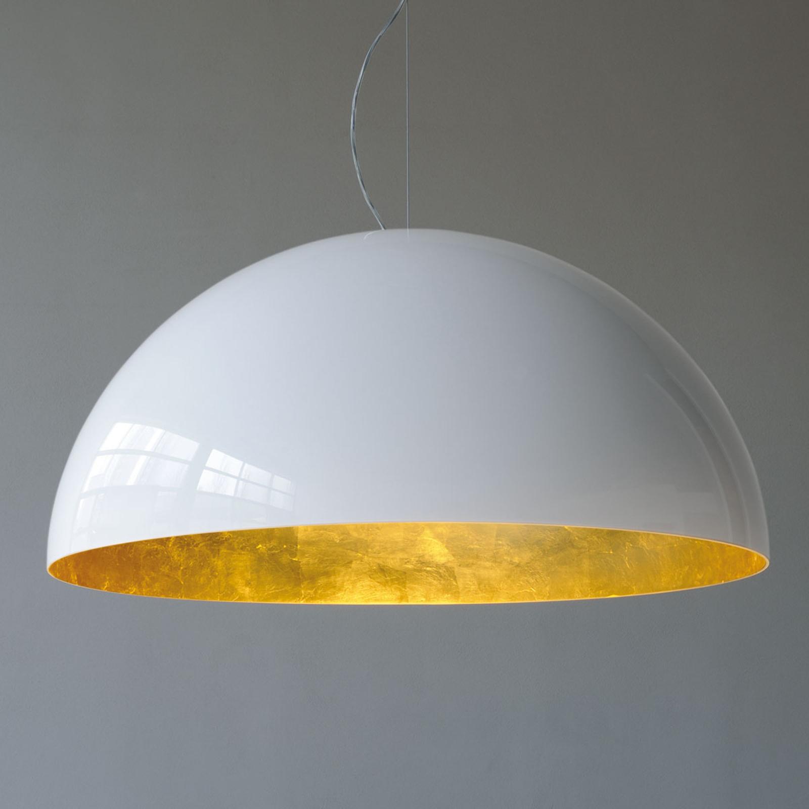 Półokrągła lampa wisząca SONORA, biało-złota