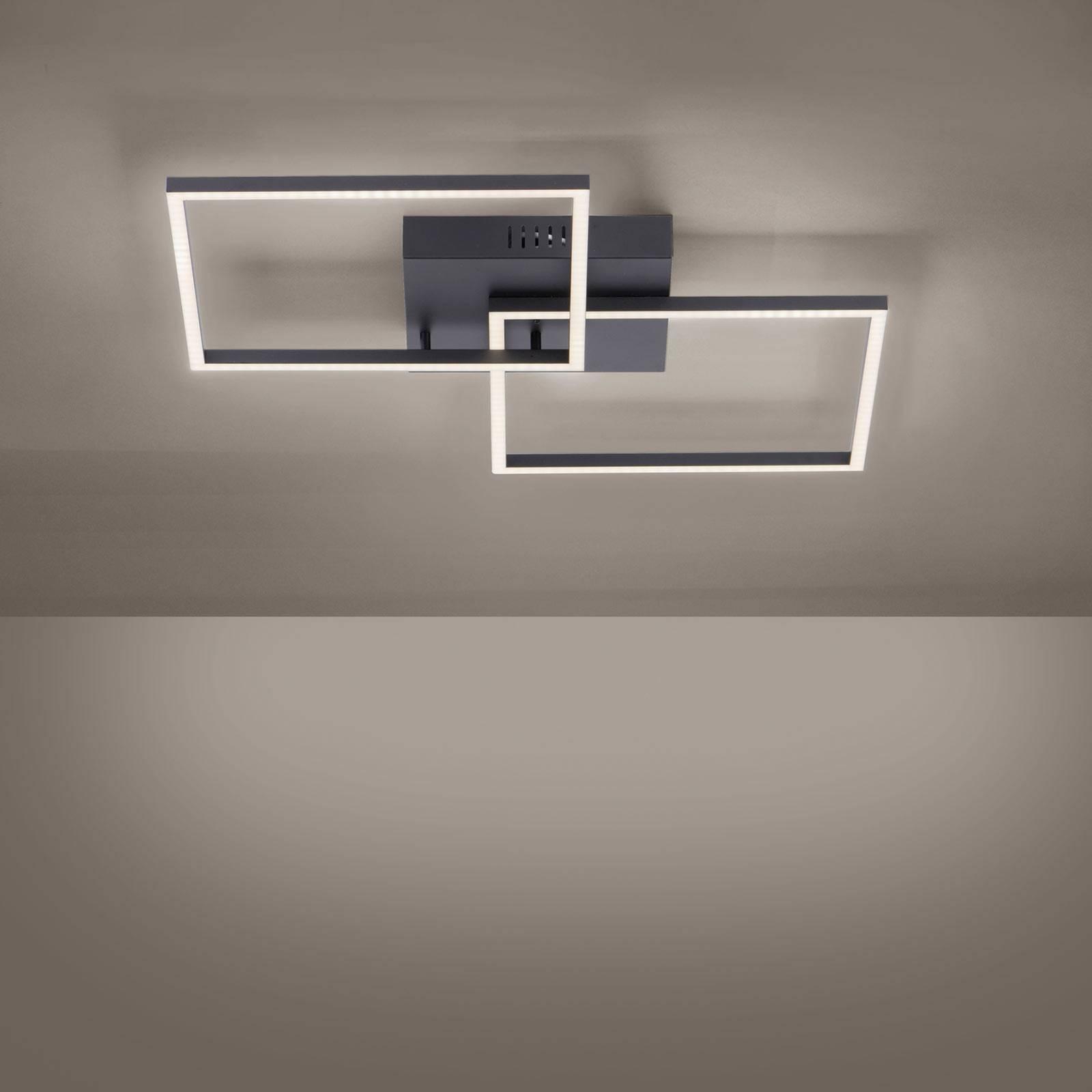 LED plafondlamp Iven, zwart 2-lamps vierkant