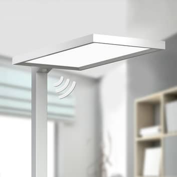 Srebrna biurowa lampa stojąca LED Dorean