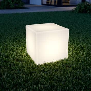 LED solární lampa Ziva ve tvaru krychle v bílé