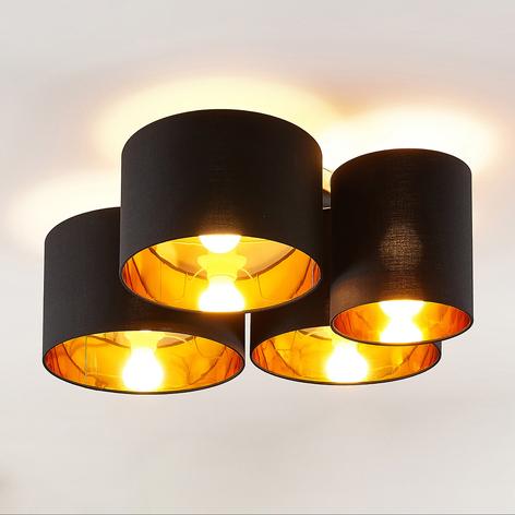 Lindby Laurenz taklampa, 4 lampor, svart-guld