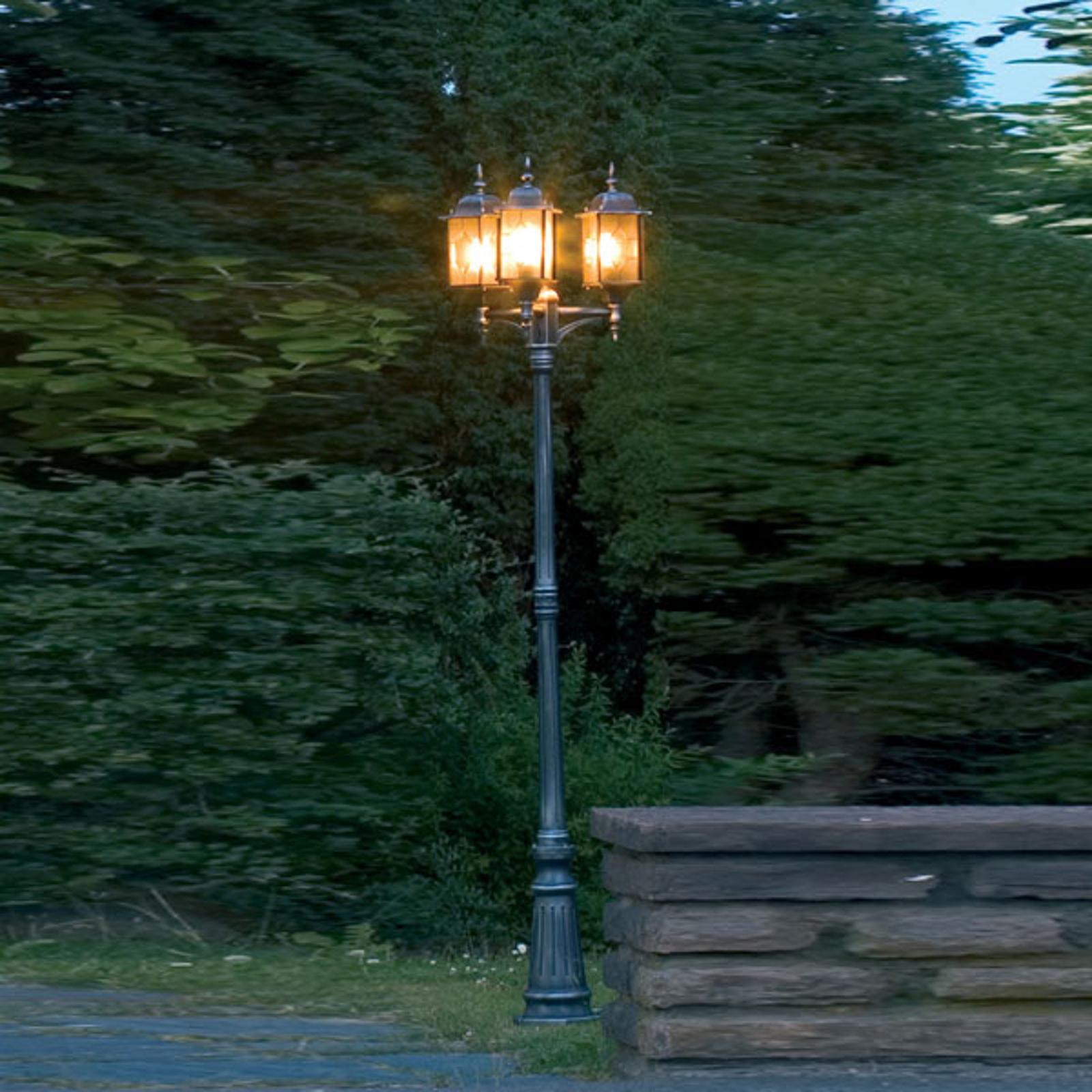 Kolmilamppuinen lyhtypylväs MILANO, musta/hopea
