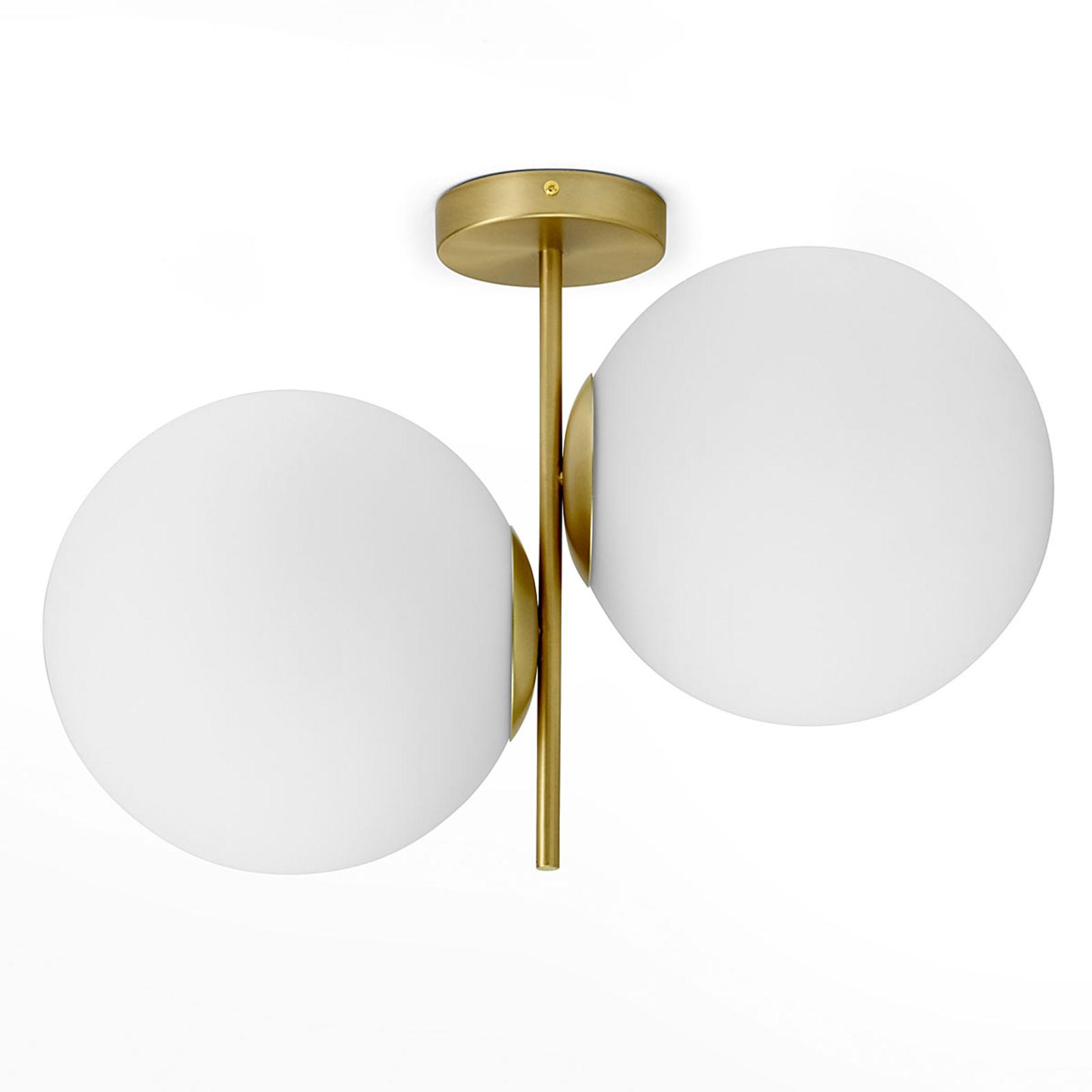 Plafonnier en laiton Jugen à 2 lampes vertical
