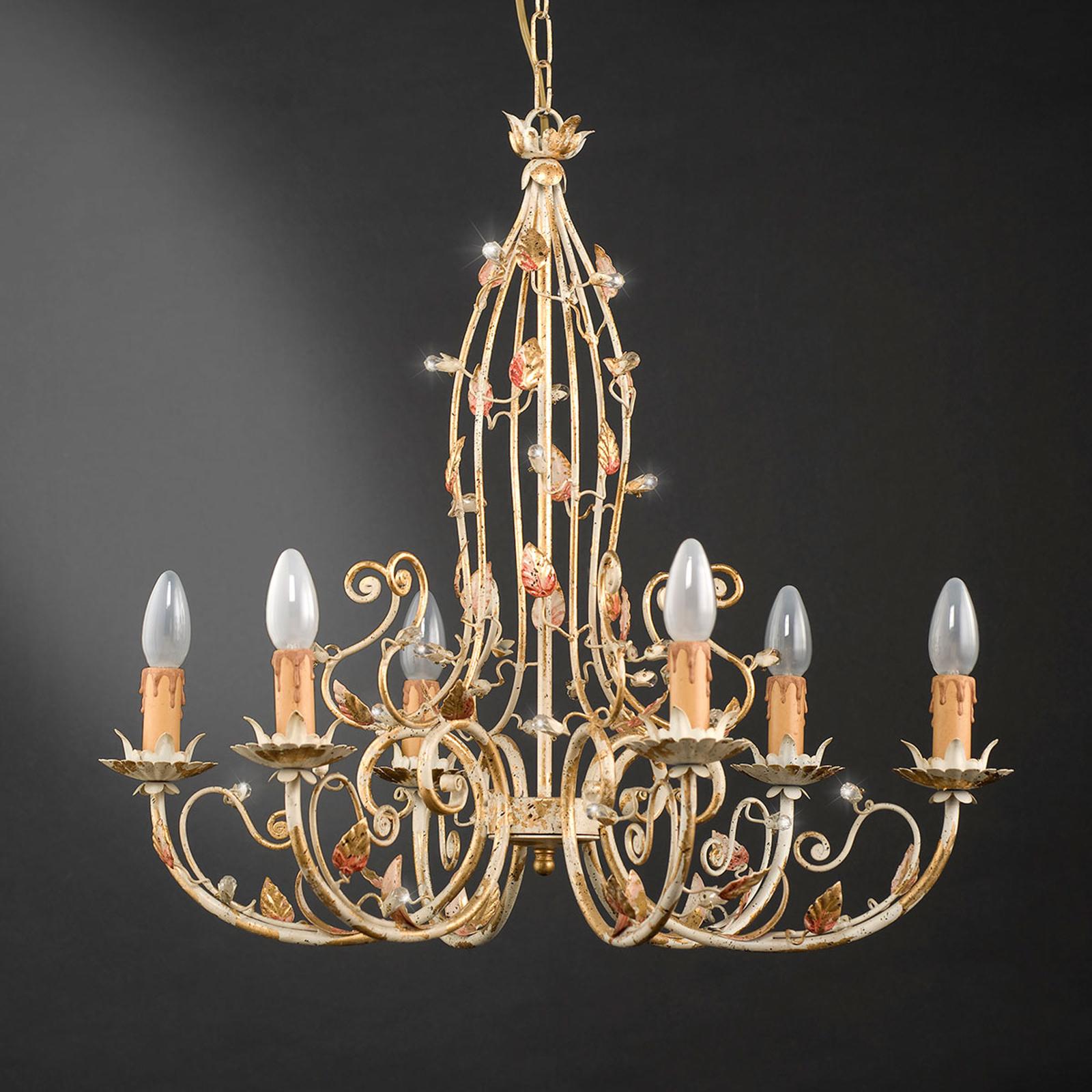 Ljuskrona 200/6, floral design, 6 lampor
